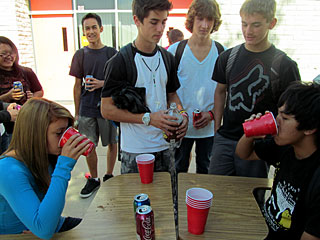 German Club participants drinking soda